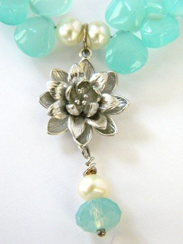 Silver Lotus Blossom Pendant Necklace Blue Chalcedony Pearl Handmade