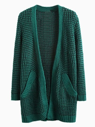 Dark Green Pocket Loose Longline Knit Cardigans  8021dc685