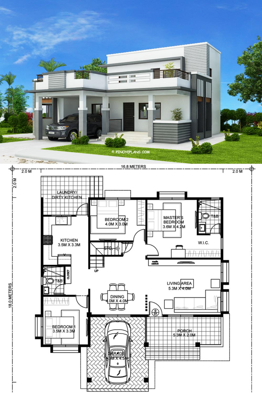 Four Bedroom Modern House Design Pinoy Eplans In 2020 Best Modern House Design Architect Design House Model House Plan
