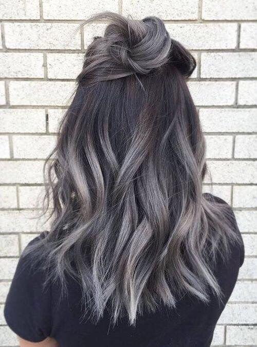 Hair Grey And Black Hair Hair Hair Styles Balayage Hair