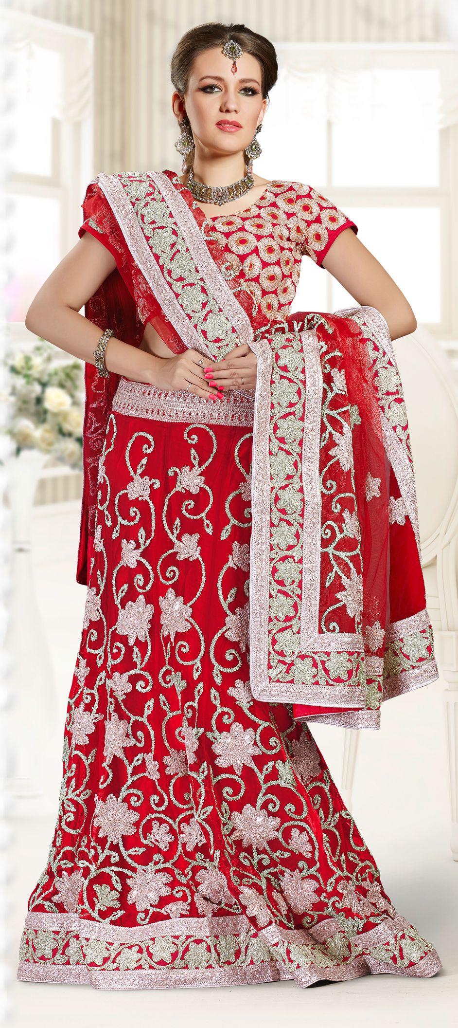 122709: de color marrón Lehngas boda familiar Roja y. | Indian ...