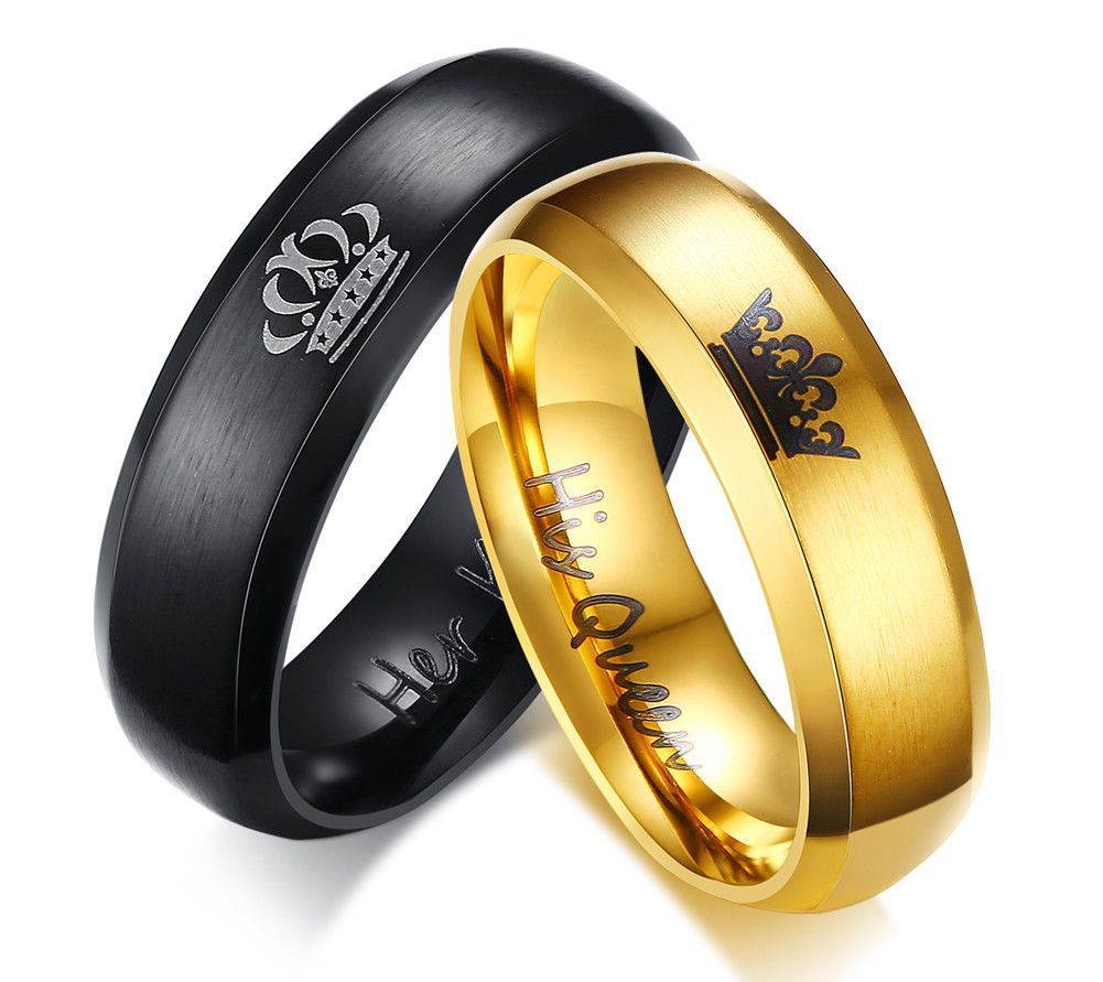 Her King His Queen Stainless Steel Wedding Anniversary Engagement Ring Gift
