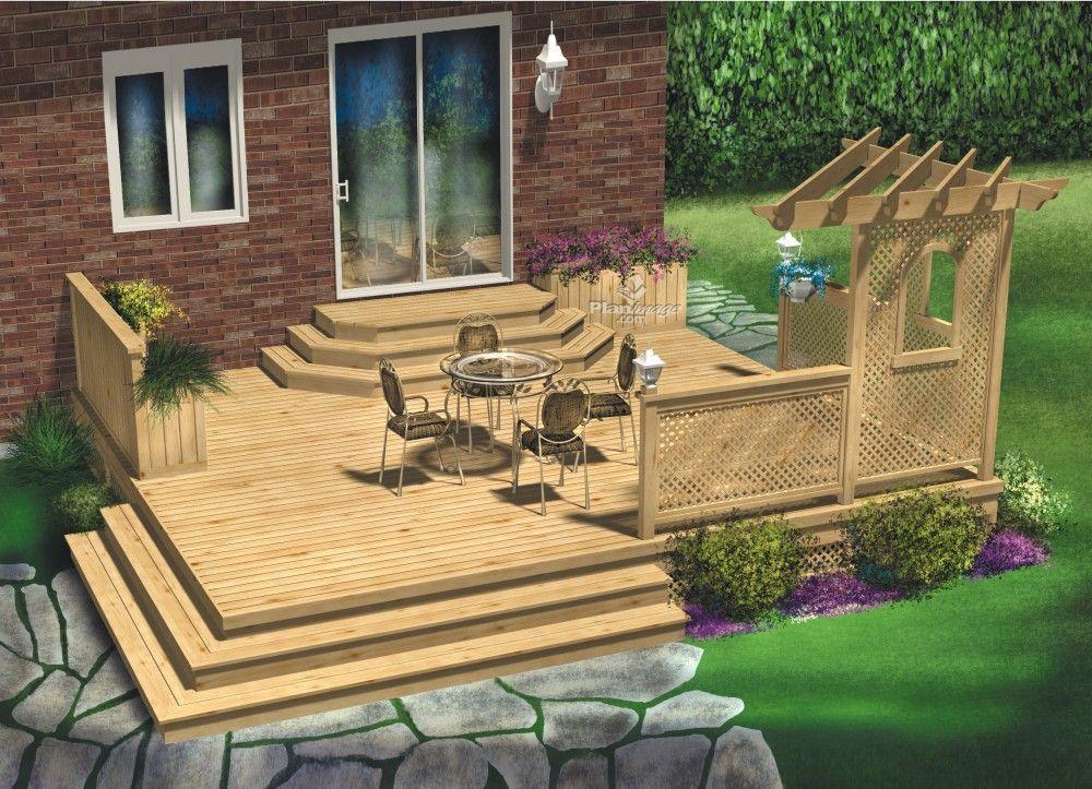 Cette terrasse en bois palier unique a t con ue de for Patio exterieur plan