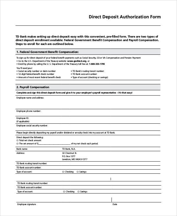 sample direct deposit authorization form examples pdf word the - direct deposit forms