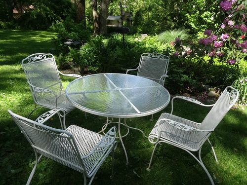 Vintage 5 Piece Patio Set Wrought Iron Round Glass Top