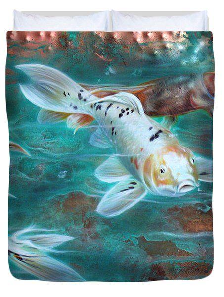Copper Koi Duvet Cover by Sandi Baker