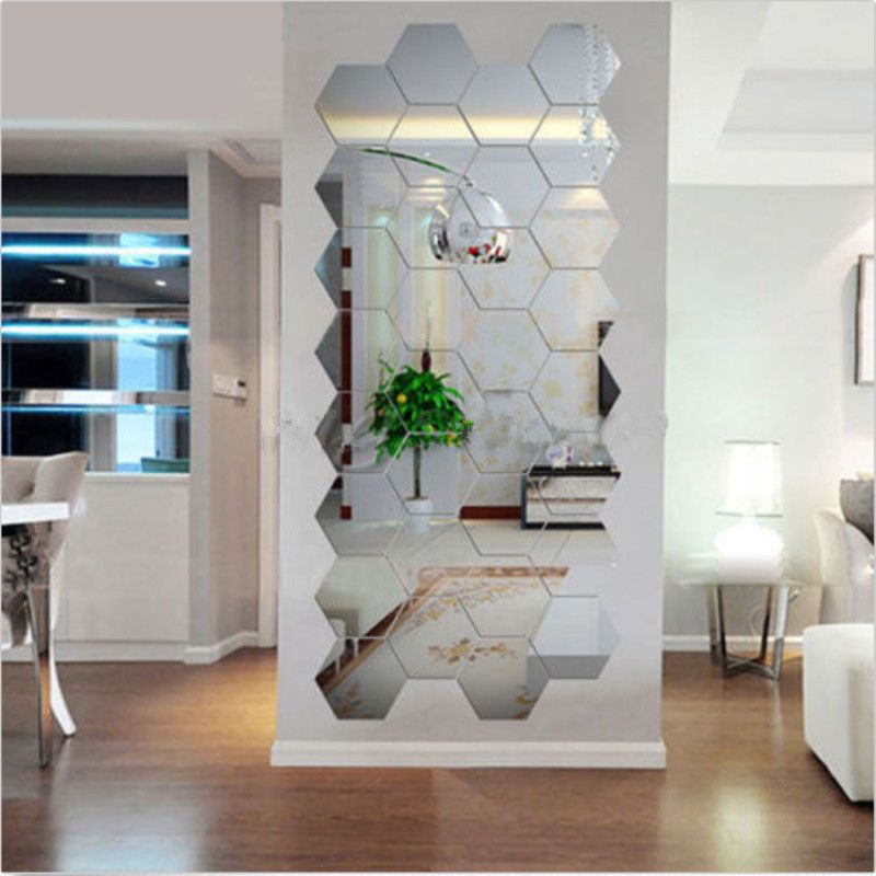 12pcs acrylic silver 3d hexagonal mirror wall stickers on wall stickers for home id=14692