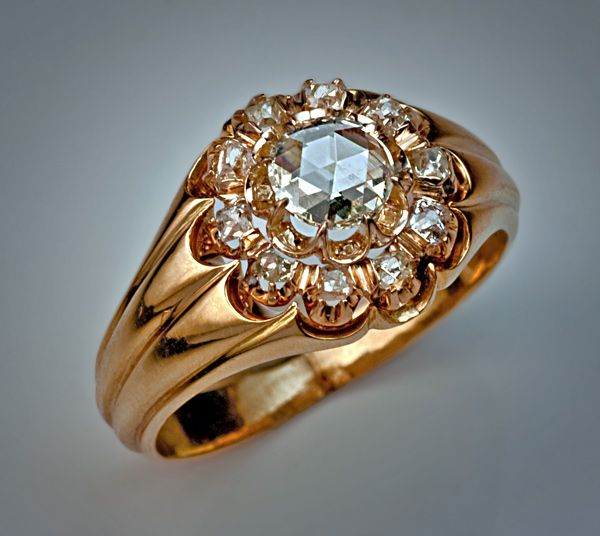 Antique Rose Cut Diamond Jewelry Rose Diamond Gold Ring Antique