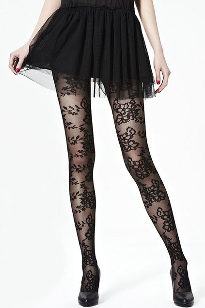 dcf689ee3 Flower Lace Black Tights. Didn't Blair Waldorf wear something like this  before?! LOVE LOVE