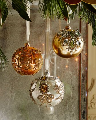 Golden Bejeweled Christmas Ornaments at Horchow.