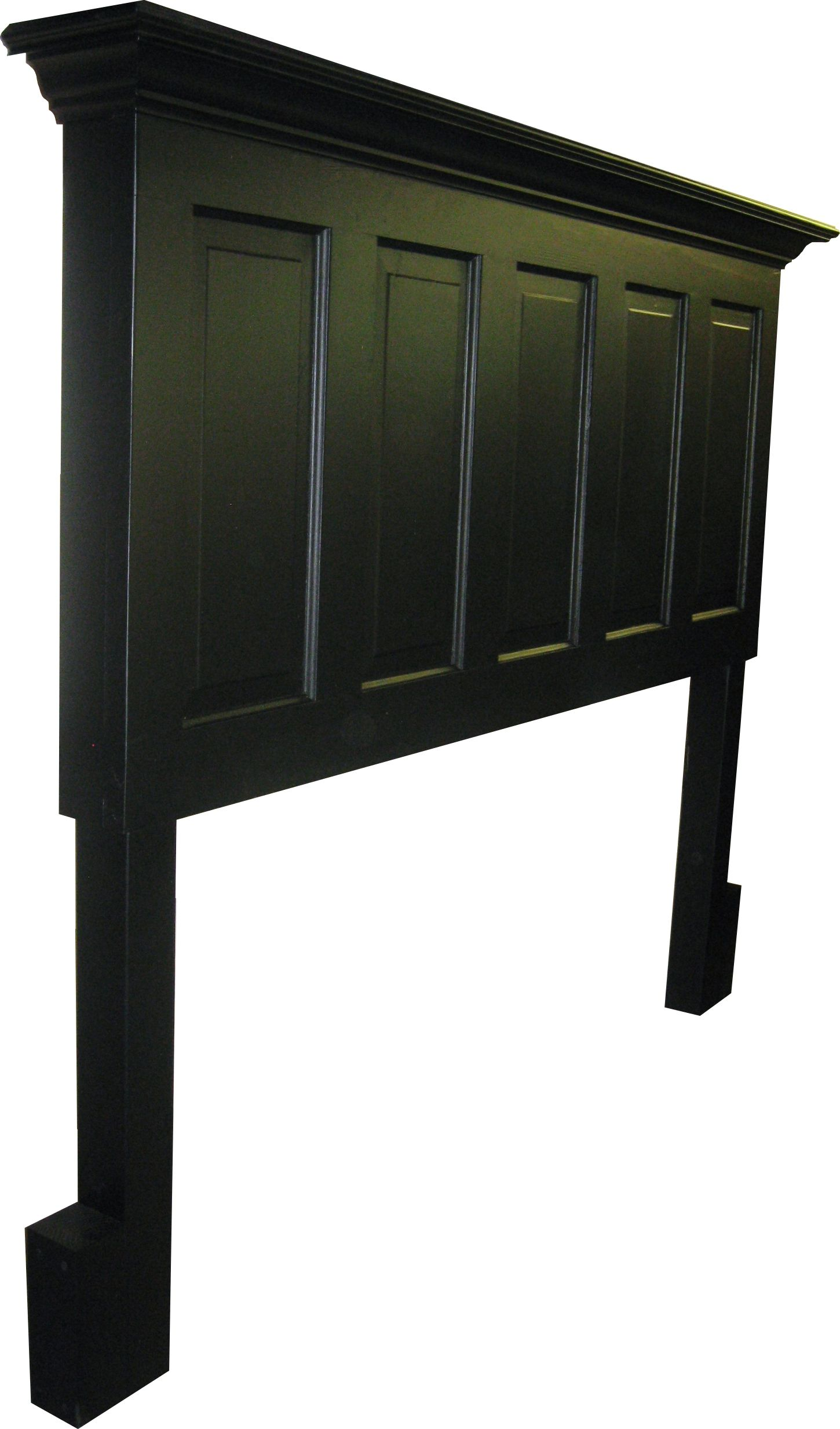 5 Panel Onyx Black King Size Headboard With Legs From Vintage Headboards