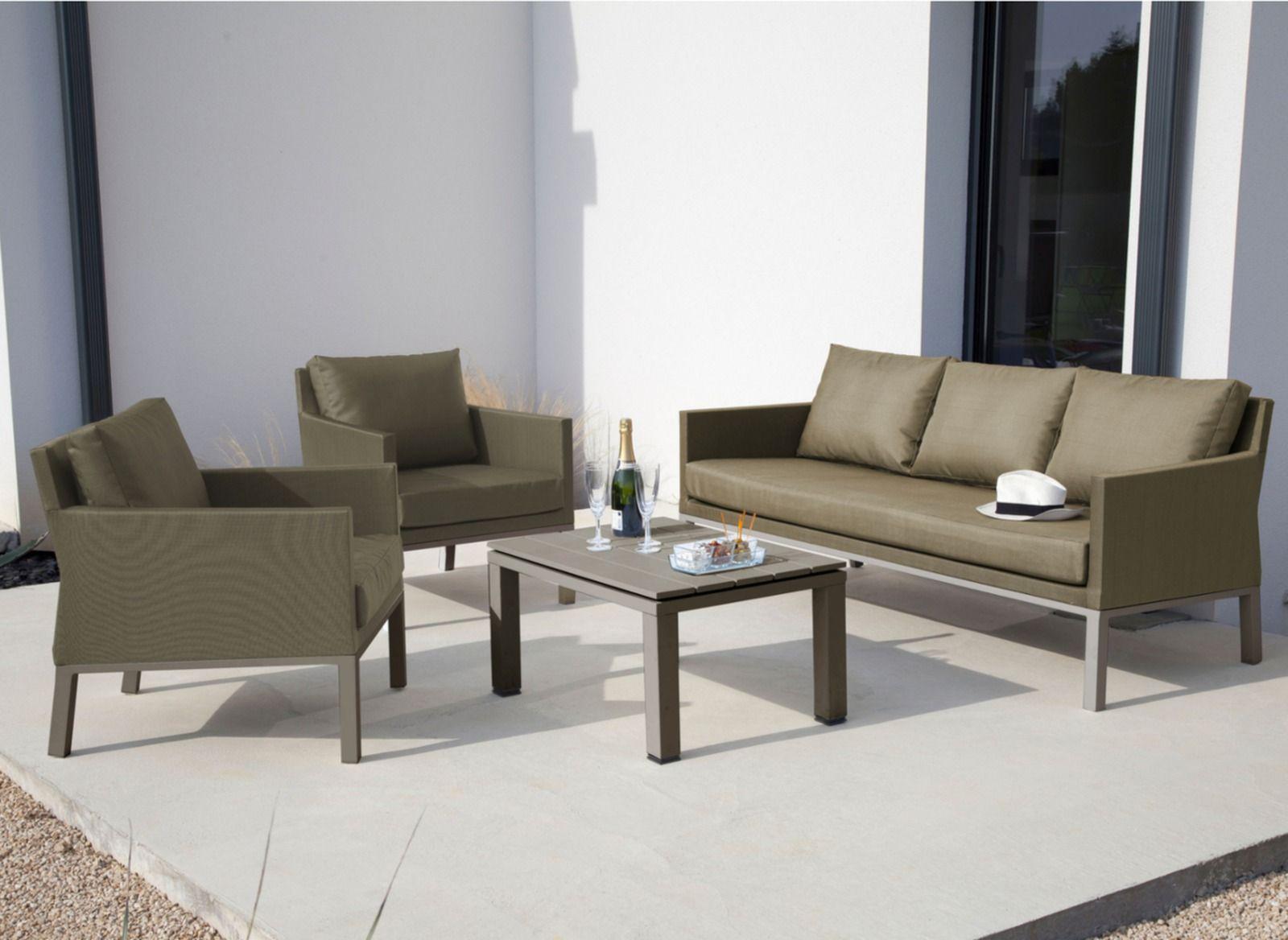 Salon de jardin canapé, fauteuils + table basse Oslo - Proloisirs ...