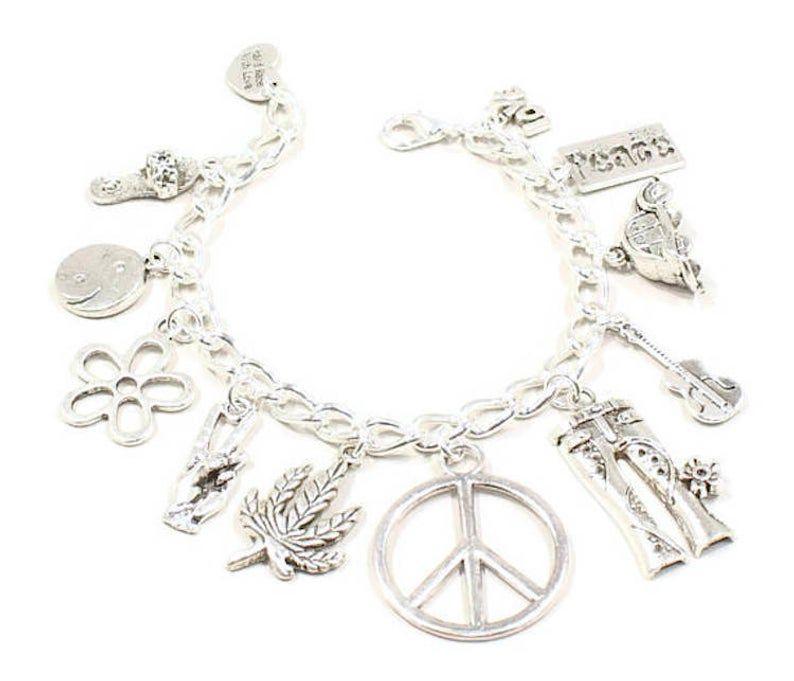 Peace Sign Bracelet Peace Sign Jewelry Silver Peace Sign Charm Hippie Jewelry Peace Symbol Jewelry Charm Bracelet Peace Sign Jewelry Hippie Bracelets