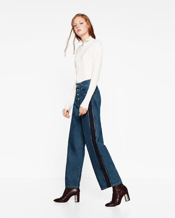 Image 5 of MOM FIT JEANS WITH SIDE STRIPES from Zara