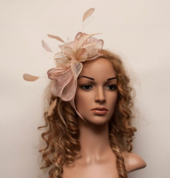Beige Champagne Gold And Blush Light Pink Gorgeous Fascinator For Weddings Bridesmaids