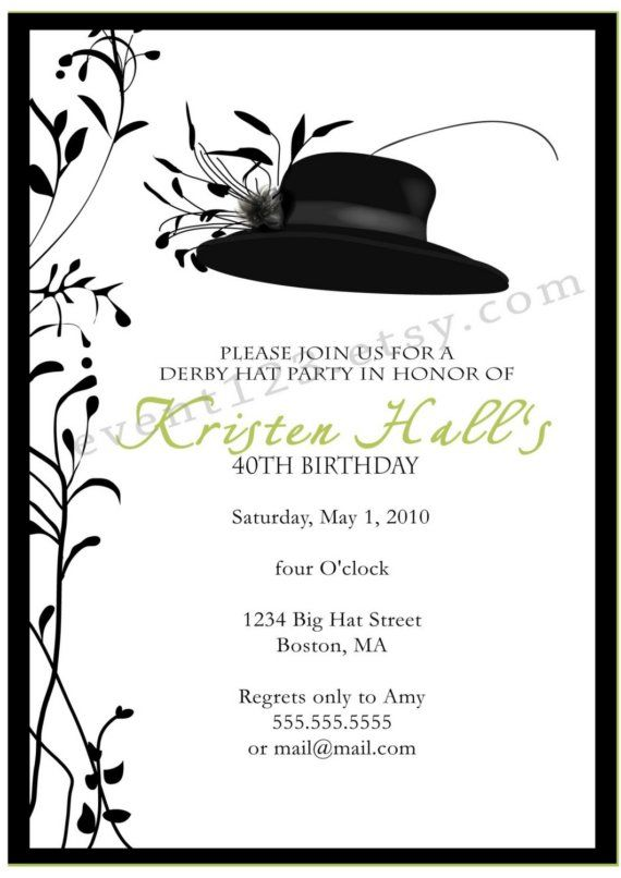 Invitation Cards For Ladies Party. Big Hat Invitation  Derby Party Horse by 1 50 via Etsy Mint To Be