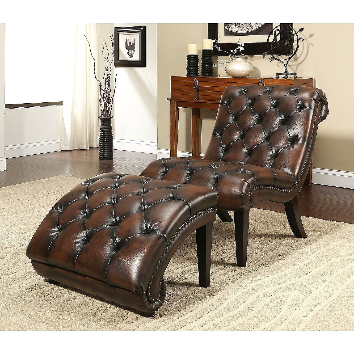 Patrick Leather Chaise Lounge Chair and Ottoman - Samu0027s Club  sc 1 st  Pinterest : sams club chaise lounge - Sectionals, Sofas & Couches
