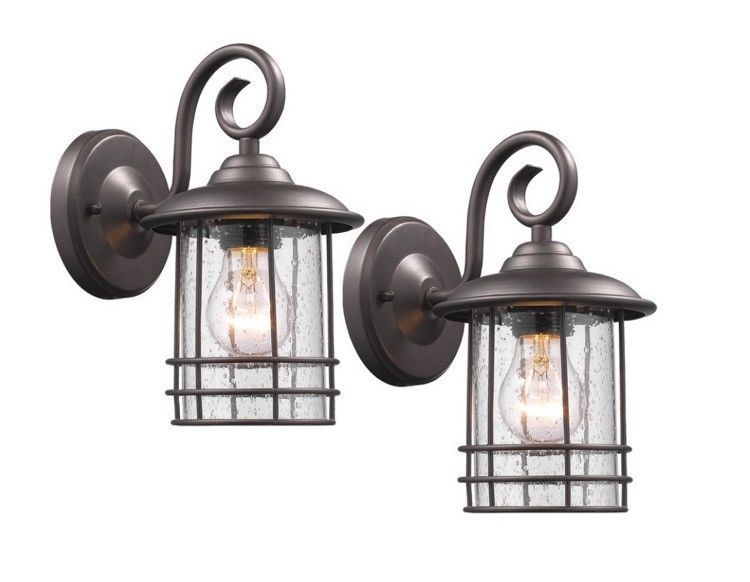Front Porch Light Outdoor Wall Sconce Set Hanging Lantern Exterior Lights 2  Set #Chloe #Classic