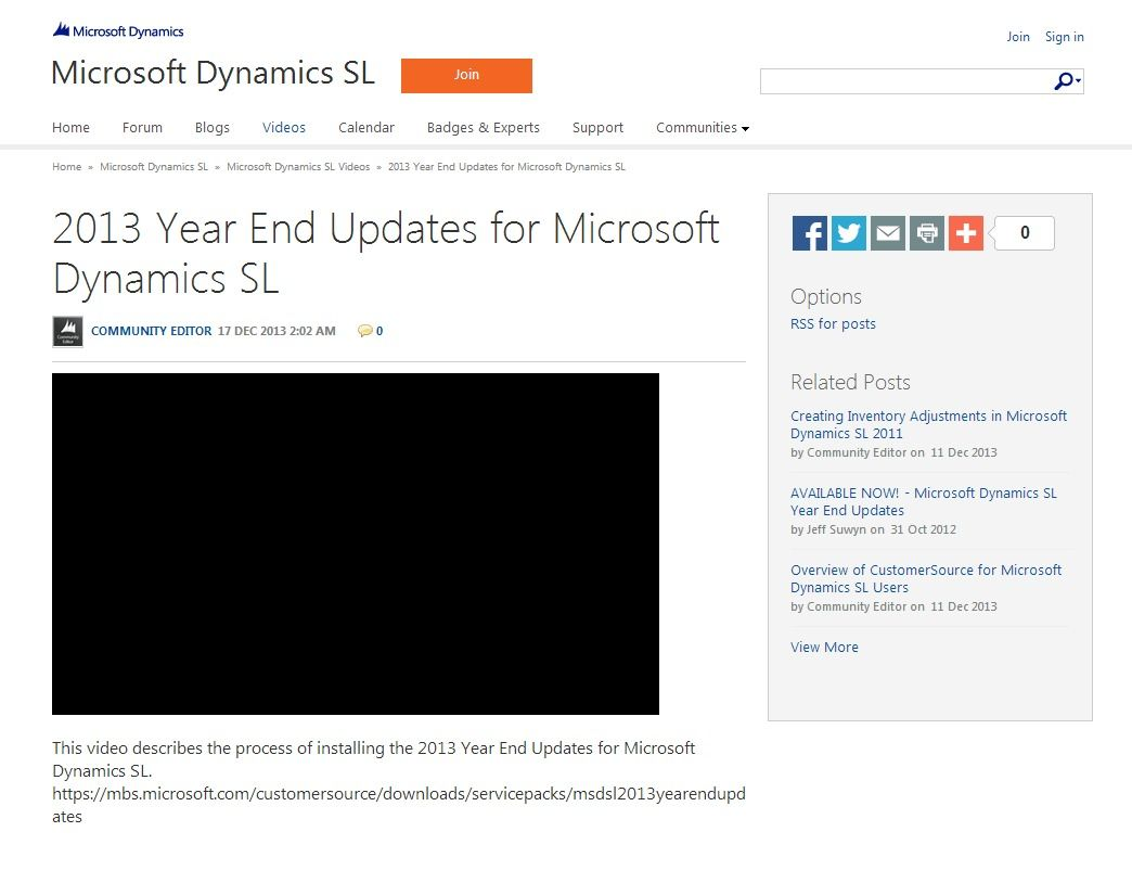 2013 Year End Updates for Microsoft Dynamics SL