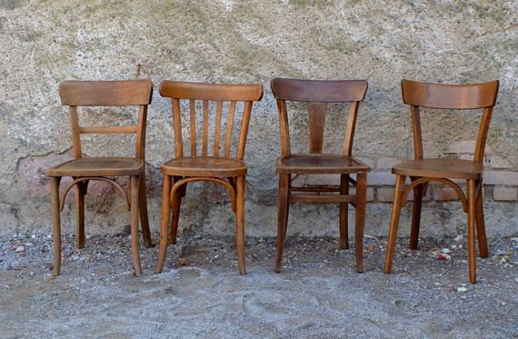 Set Of 4 Chairs Bistro Retro 50s 60s Mix And Match Mismatched Old Wooden Chairs Retro Chair Wooden Dining Chairs