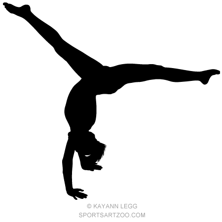 female gymnast silhouette executing a hand stand sportsartzoo gymnastics female silhouette