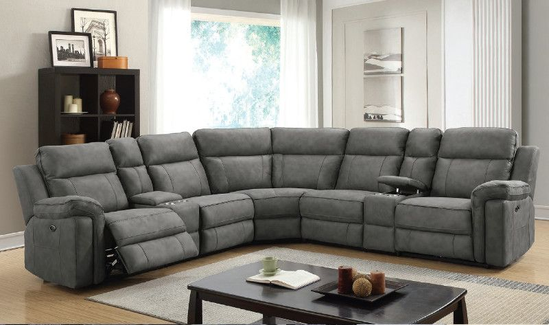 7 Pc Jamestown Granite Padded Microfiber Upholstery With Recliner