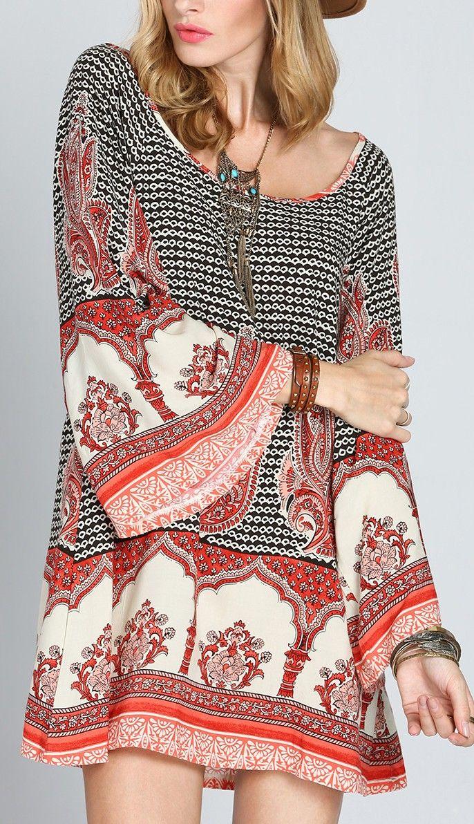 Multicolor Antique Long Sleeve Vintage Print Dress   Schwarz und ...