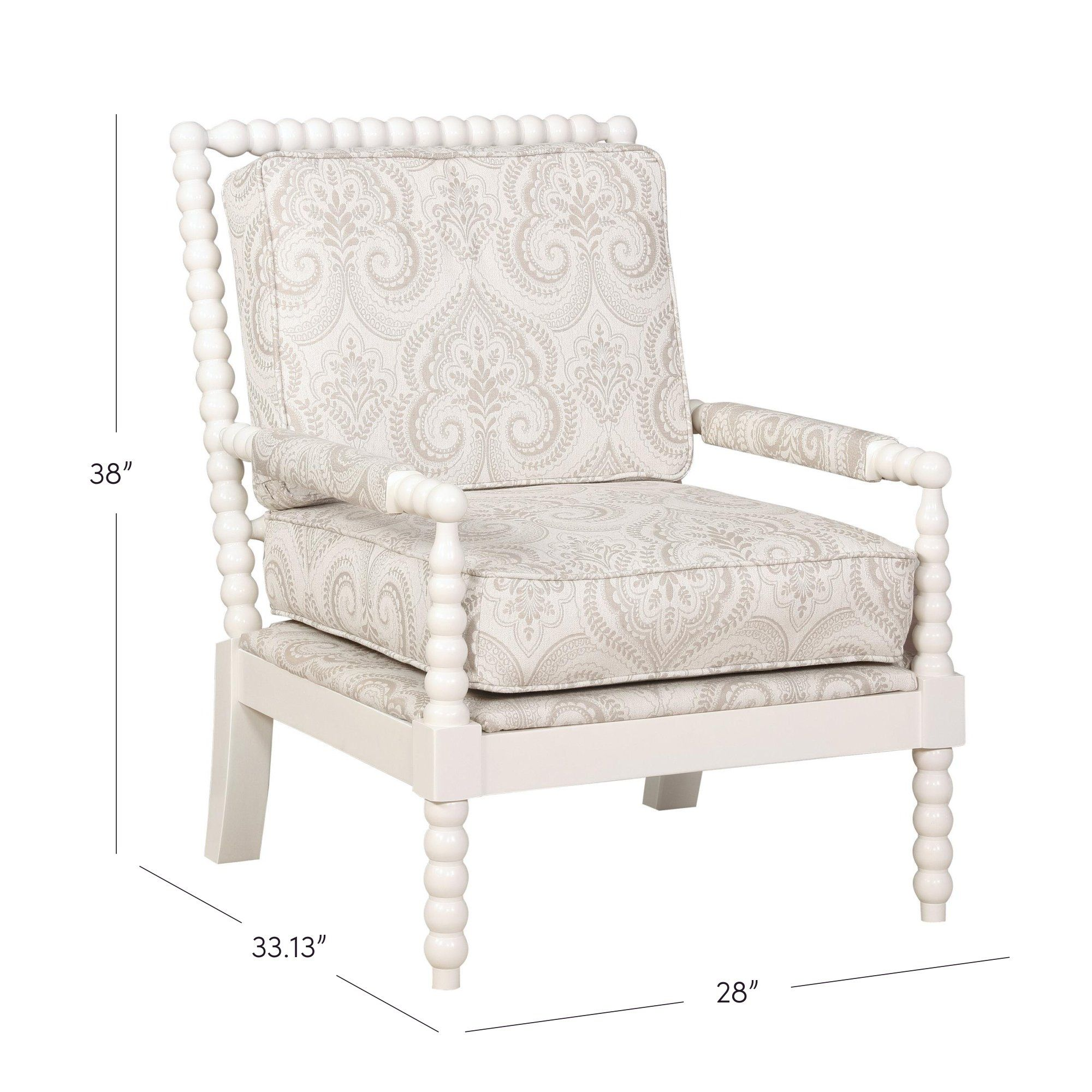 Wifrith Shellplant Spindle Armchair Upholstered Chairs Beige Accent Chair Spindle Chair
