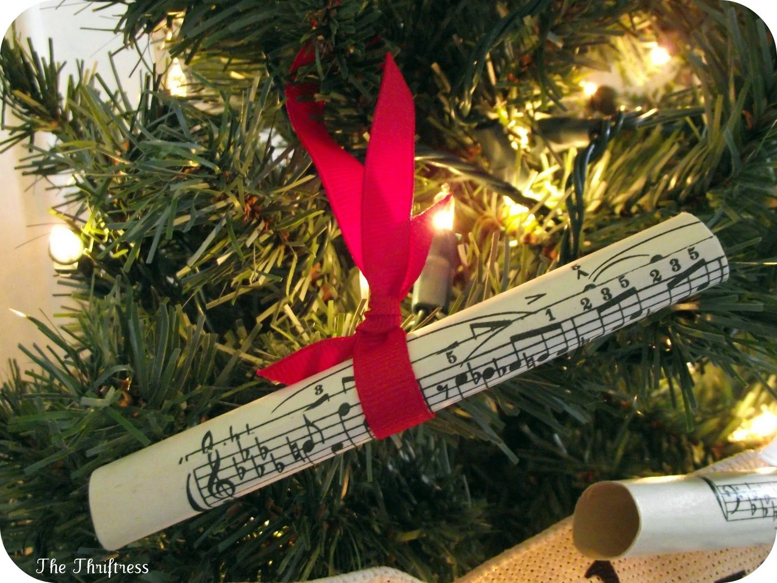 Christmas music ornaments - Rolled Sheet Music Ornaments