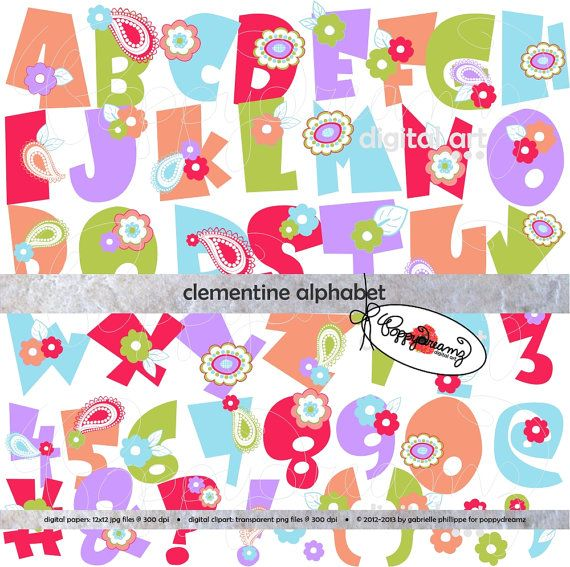 clementine alphabet clip art pack 300 dpi transparent png card making digital scrapbook