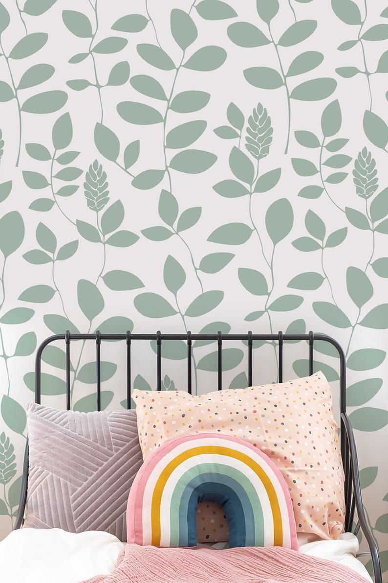 Minimalist Green Leaf Removable Wallpaper Peel And Stick Etsy Removable Wallpaper Green Leaf Wallpaper Self Adhesive Wallpaper