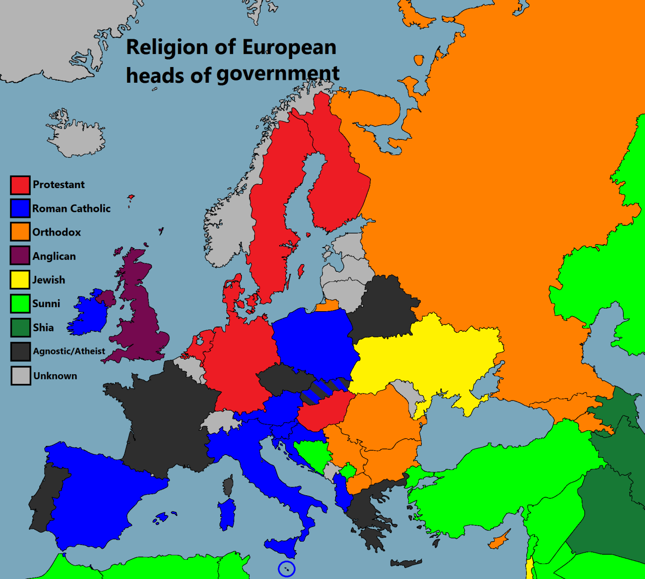 Religion Of European Heads Of Government Wow - Europe religion map