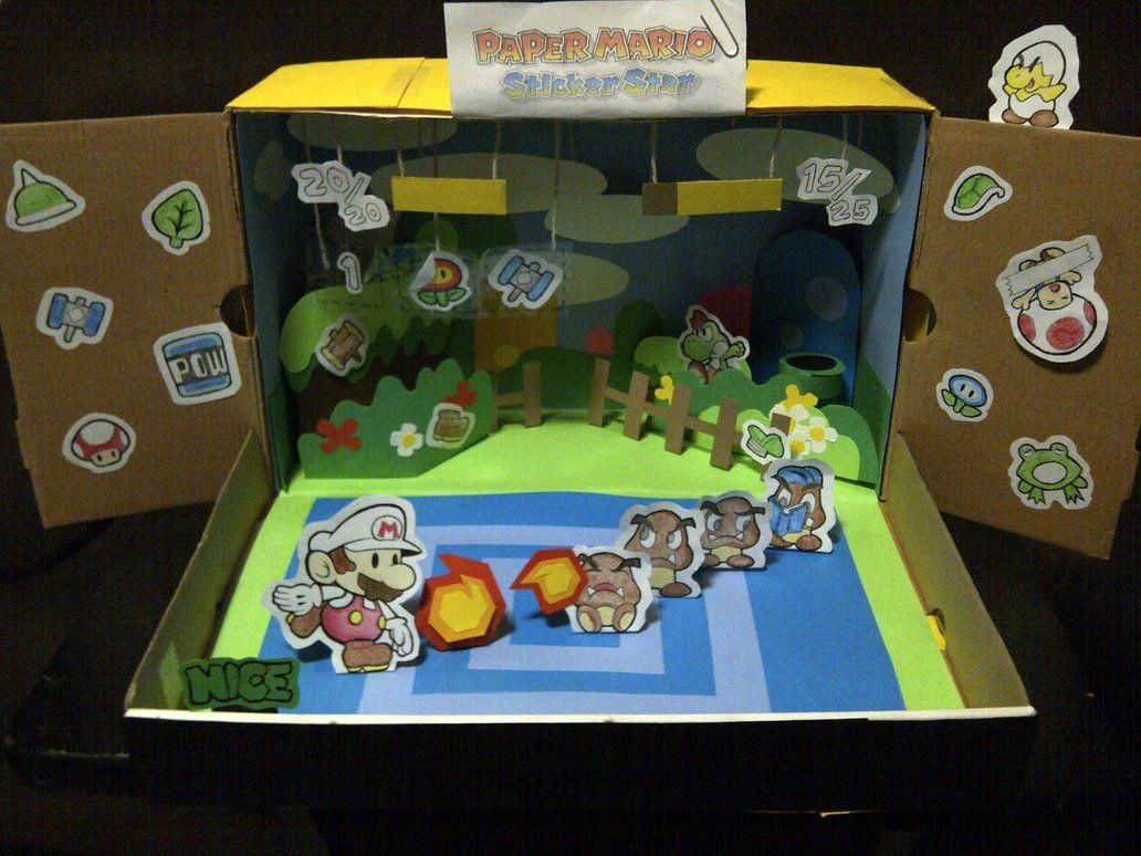 my paper mario sticker star diorama entry front by adrift107