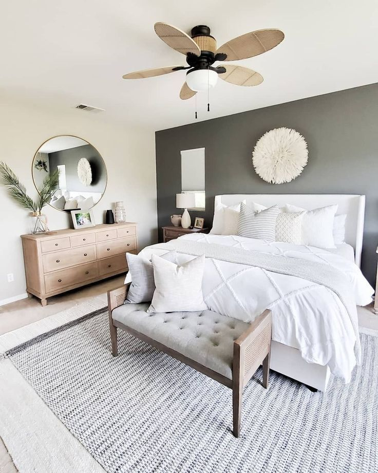 Neutral master bedroom details care of 3D for Designers.becomes.home | Shop this #masterbedroompaintcolors