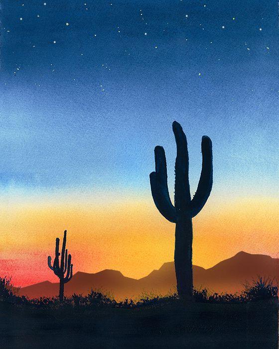 Desert Cactus Sunset 700 Jpg 560 700 Desert Painting Sunset