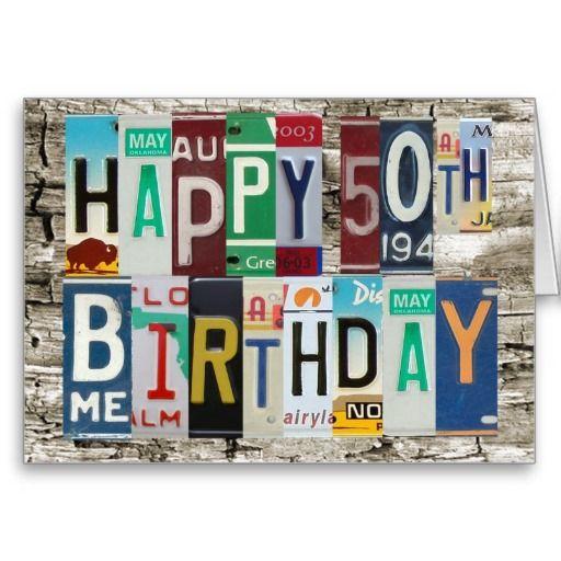 License Plates Happy 50th Birthday Card Zazzle Com 65th Birthday Cards Happy 65 Birthday Happy 35th Birthday