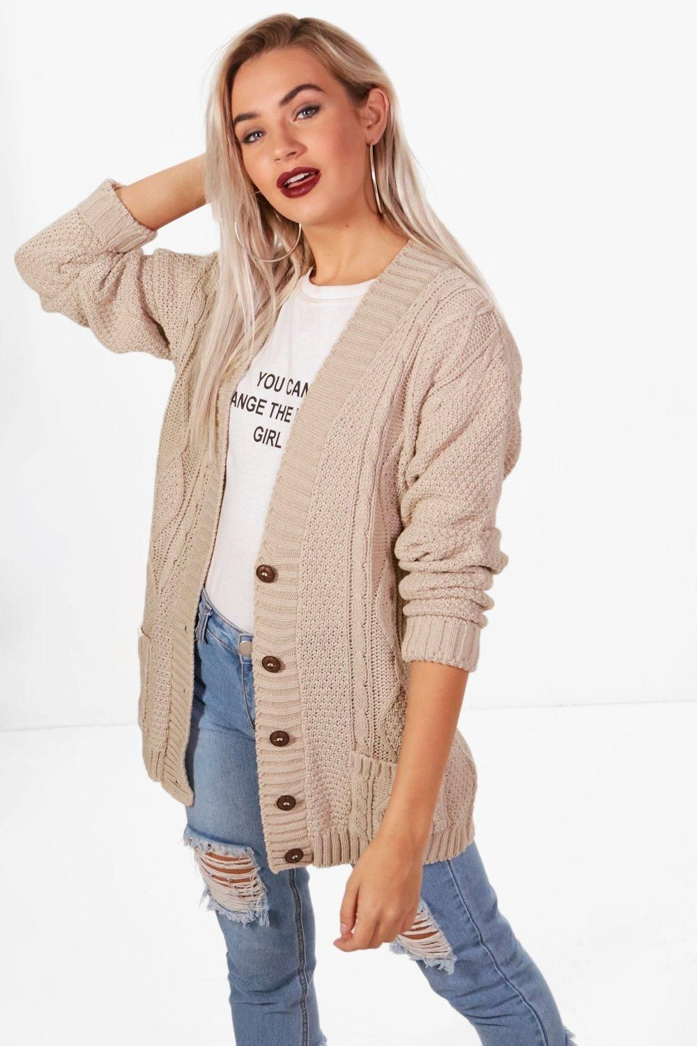 Cable Boyfriend Button Up Cardigan | boohoo in 2020 | Long