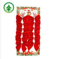 2016 Hot 12 ks / set vianočný strom dekorácie, červené bowknot ozdoby, nový rok dekorácie