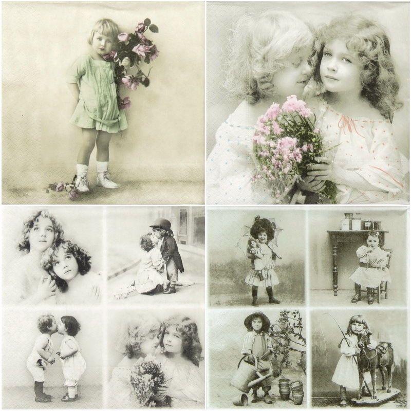 4 Single paper decoupage napkins girls design old photo Vintage -294