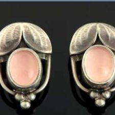 Georg Jensen Rare 2003 Rose Quartz Heritage Earrings Mint Condition