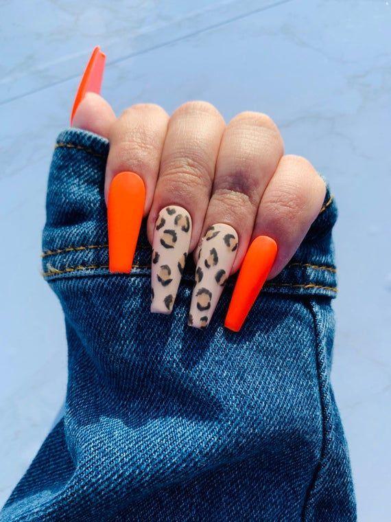 Orangenails In 2020 Cheetah Nails Orange Nails Fake Nails