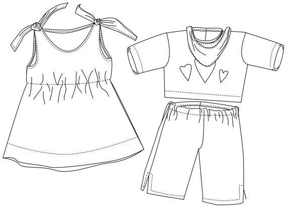 nähen für Puppen 3 Grössen Kleid Shirt Hose Halstuch Schnittmuster ...