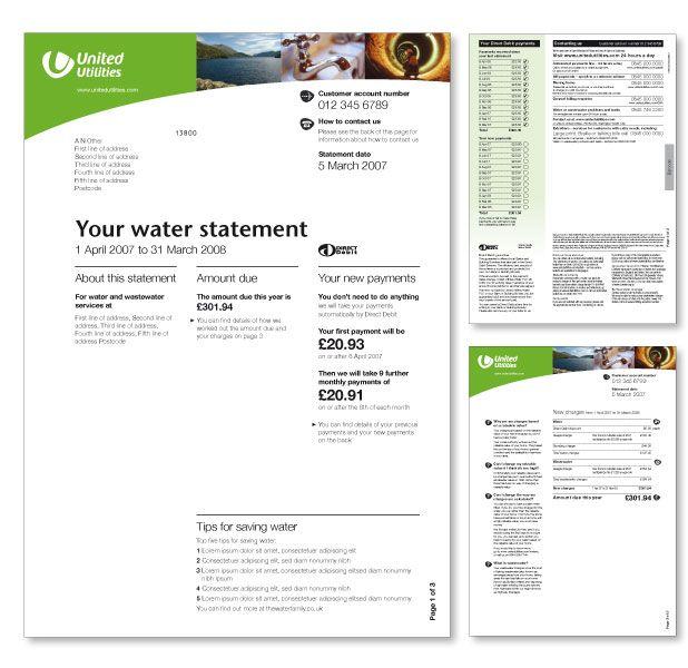 United Utilities Water Bill Design  Electricity  Gas Bill