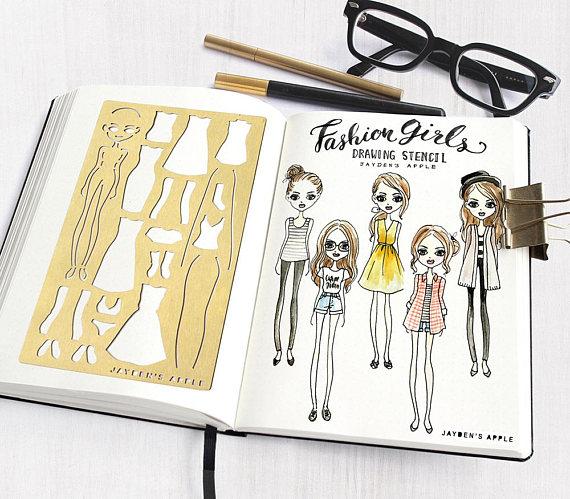 Bullet Journal Stencil, Wardrobe Planner Stencils, Fashion Girl Drawing Stencils - fits A5 & Midori Regular (Fashion L) -   11 fitness Planner memories ideas