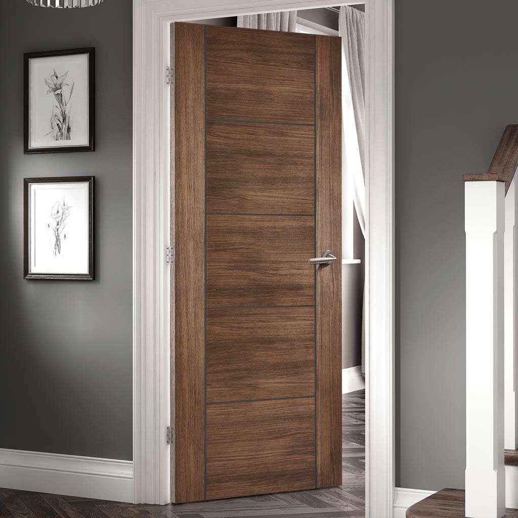 Laminate Vancouver Walnut Door Is 1 2 Hour Fire Rated And Prefinished Lifestyle Image Walnutlaminatedoor Moderndoor Walnut Doors Fire Doors Doors