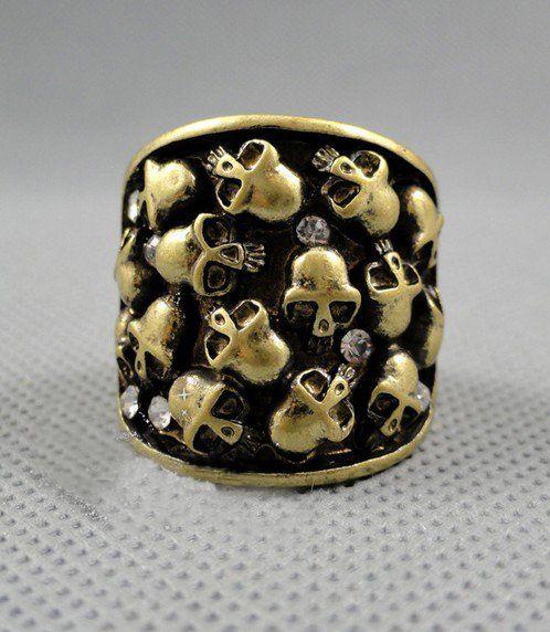 Best Deal NEW 2014 Vintage Bronze Rhinestone Skull Rings for Men Jewelry Gothic Skull Biker Men's Ring