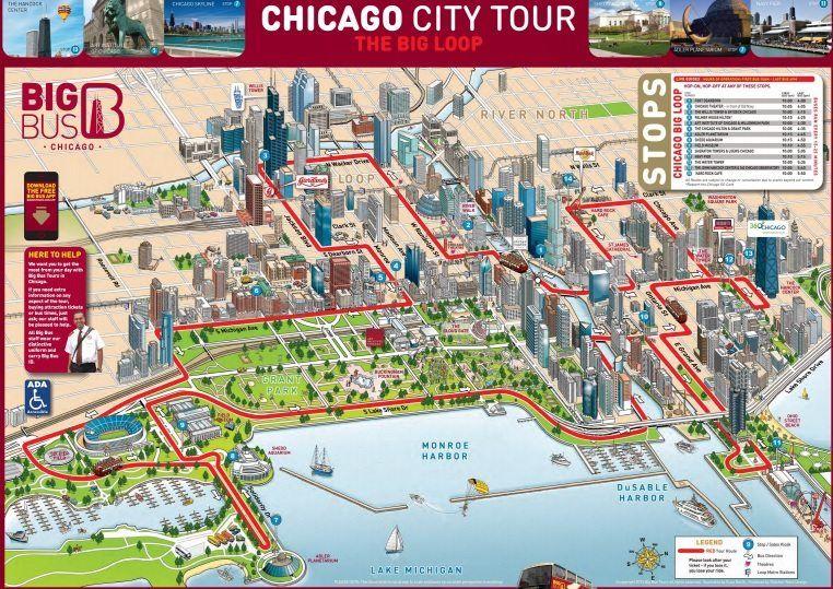 Big Bus Chicago Map | Travel lets go!!!! | Chicago bus, Chicago