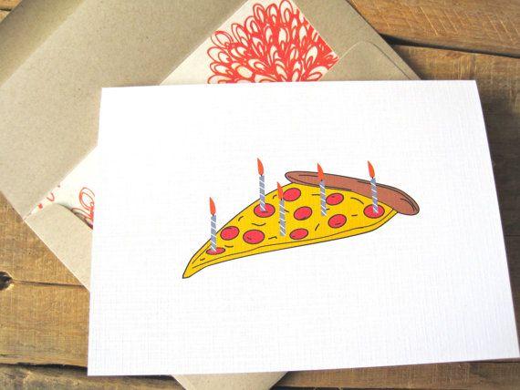 Pizza Birthday Card Funny Cards Stationary Anniversary