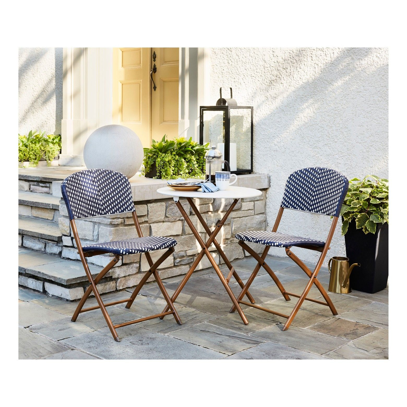 French Cafe 3pc Folding Patio Bistro Set Navy White Threshold Outdoor Patio Furniture Sets Bistro Patio Set Outdoor Bistro Set