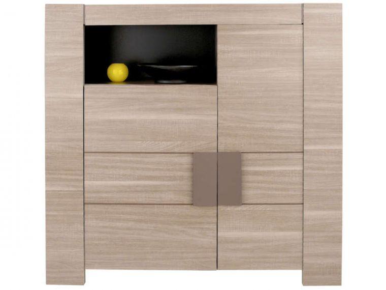 Rangement 2 Portes 1 Niche Atlanta Coloris Chene Fusain Vente De Inside Meuble Salon Conforama